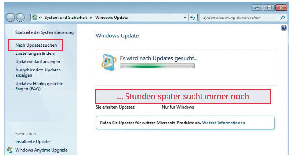 Windows 7 sucht lange nach Updates